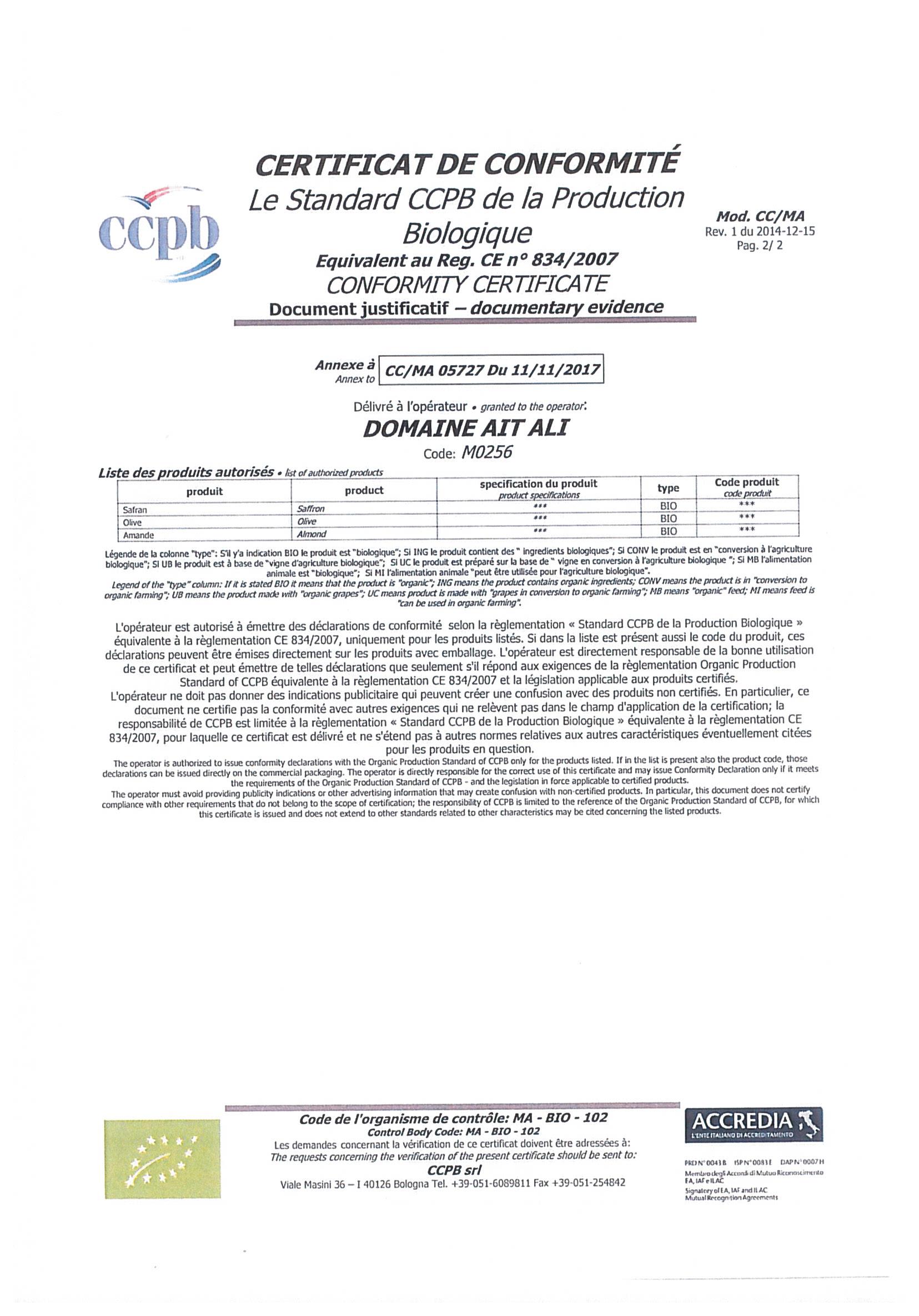 certificat de conformité biologique